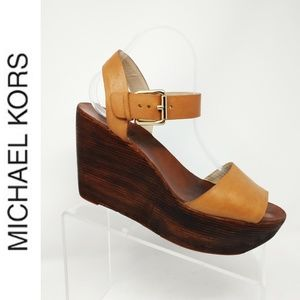 Michael Kors Leather Wood Sole Brown Sandals wedge